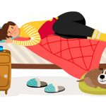 Sick Woman In Bed. Menstrual Pain, Woman Health Vector Concept.